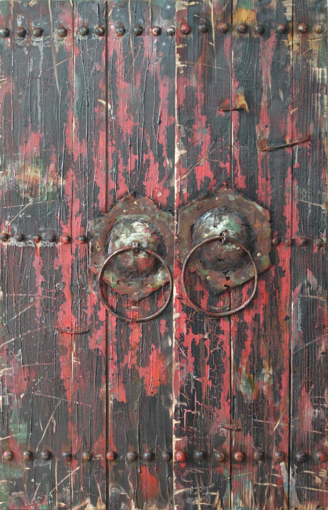 Empire Art Direct ''Antique Wooden Doors 1'' Mixed Media Hand Painted Iron Wall Sculpture by Primo