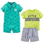 Simple Joys by Carter's Baby Boys' 3-Piece Playwear Set, Green Little Brother, 6-9 Months