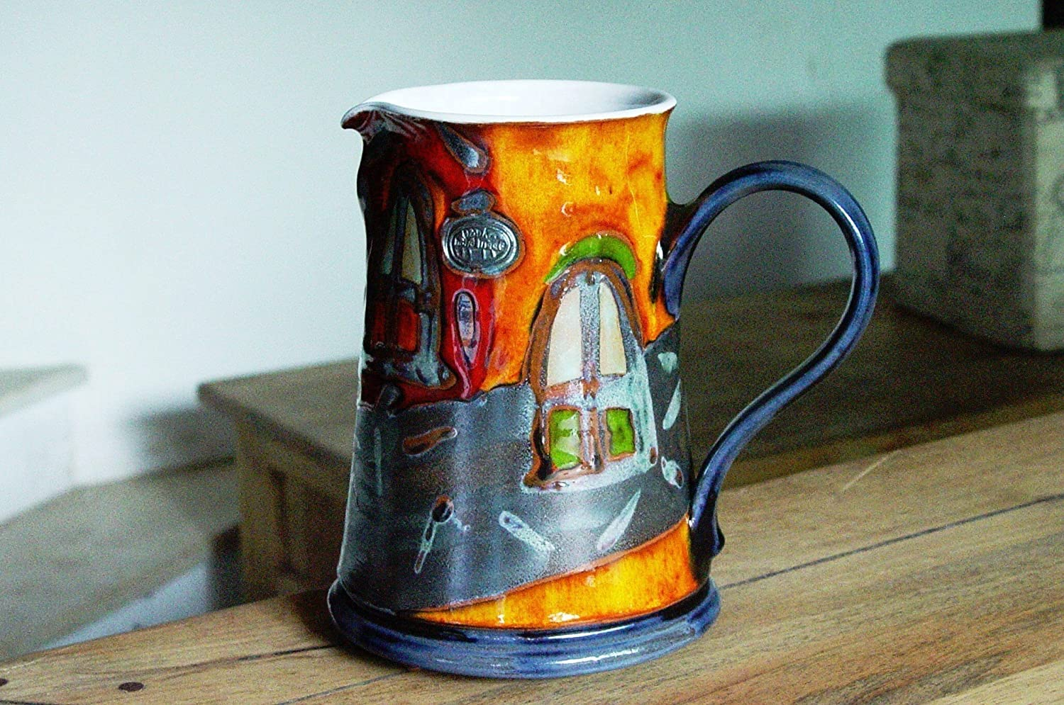 Ceramic Water pitcher, Unique Colorful Pottery Jug, Kitchen Decor