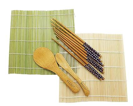 Exzact Bamboo Sushi Rolling Kit 8pcs Set 2 X Bamboo Mats 1 X Rice Paddle 1 X Rice Spreader 4 X Chopsticks All Natural Ex Sr08