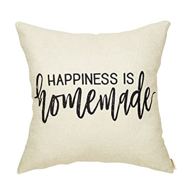 Fahrendom Rustic Happiness is Homemade Farmhouse Quote Shabby Chic Sign Cotton Linen Home Decorative Throw Pillow Case Cushion Cover with Words for Sofa Couch 18 x 18 in