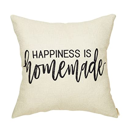 Amazon Fahrendom Rustic Happiness Is Homemade Farmhouse Quote Simple Homemade Decorative Pillows