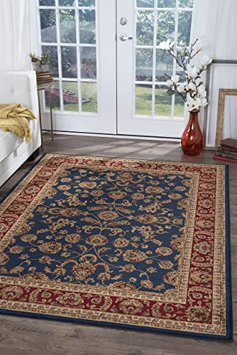 Sariya Transitional Oriental Navy Rectangle Area Rug