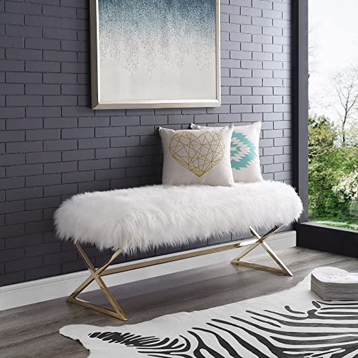Aurora White Fur Upholstered Bench - Stainless Steel Legs | Gold Tone |  Living-room, Entryway, Bedroom | Inspired Home
