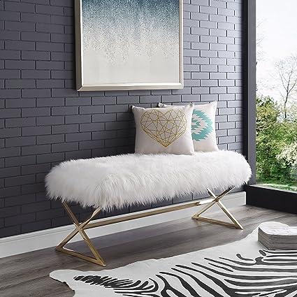 Amazon.com: Aurora White Fur Upholstered Bench - Stainless Steel ...