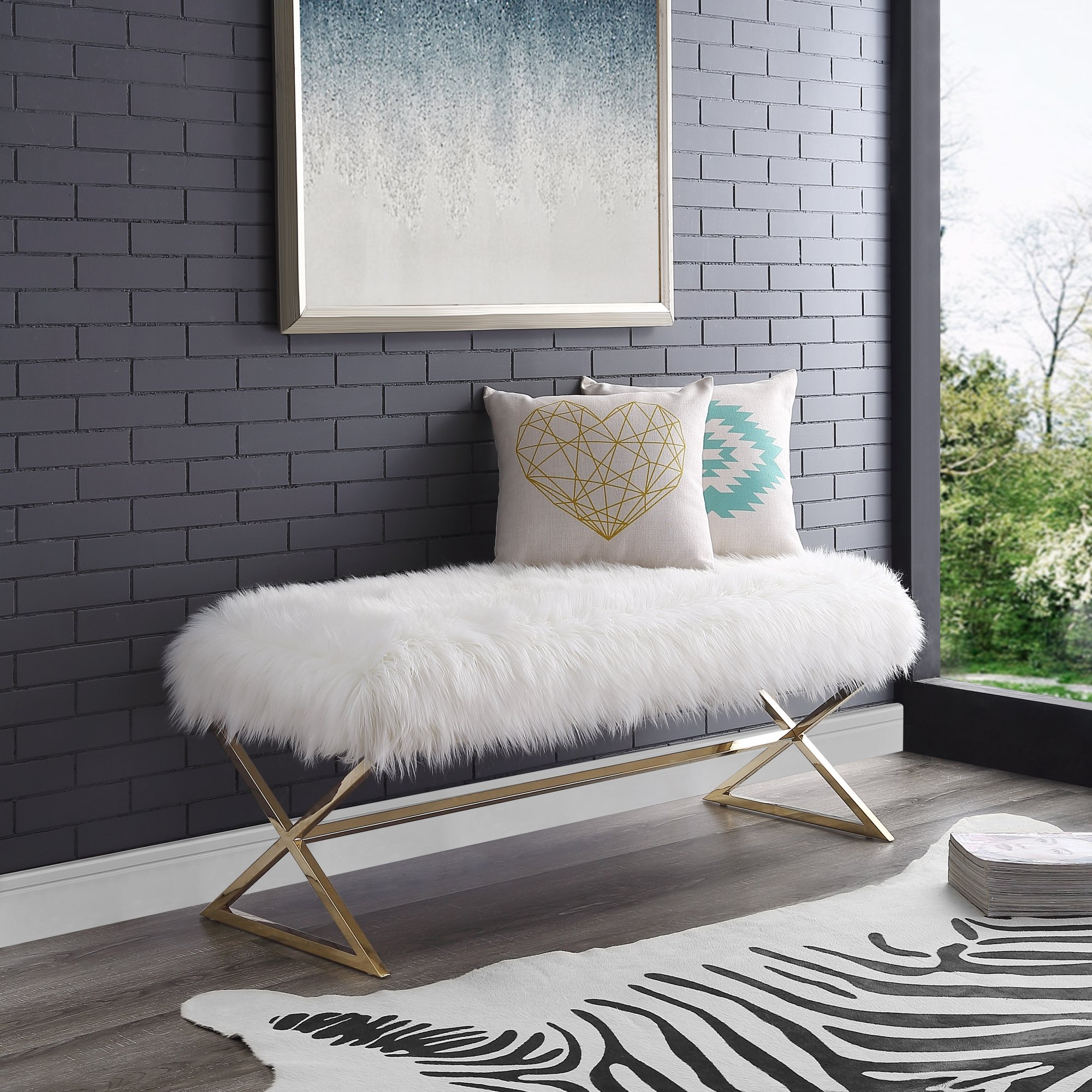 Aurora White Fur Upholstered Bench - Stainless Steel Legs   Gold Tone   Living-room, Entryway, Bedroom   Inspired Home