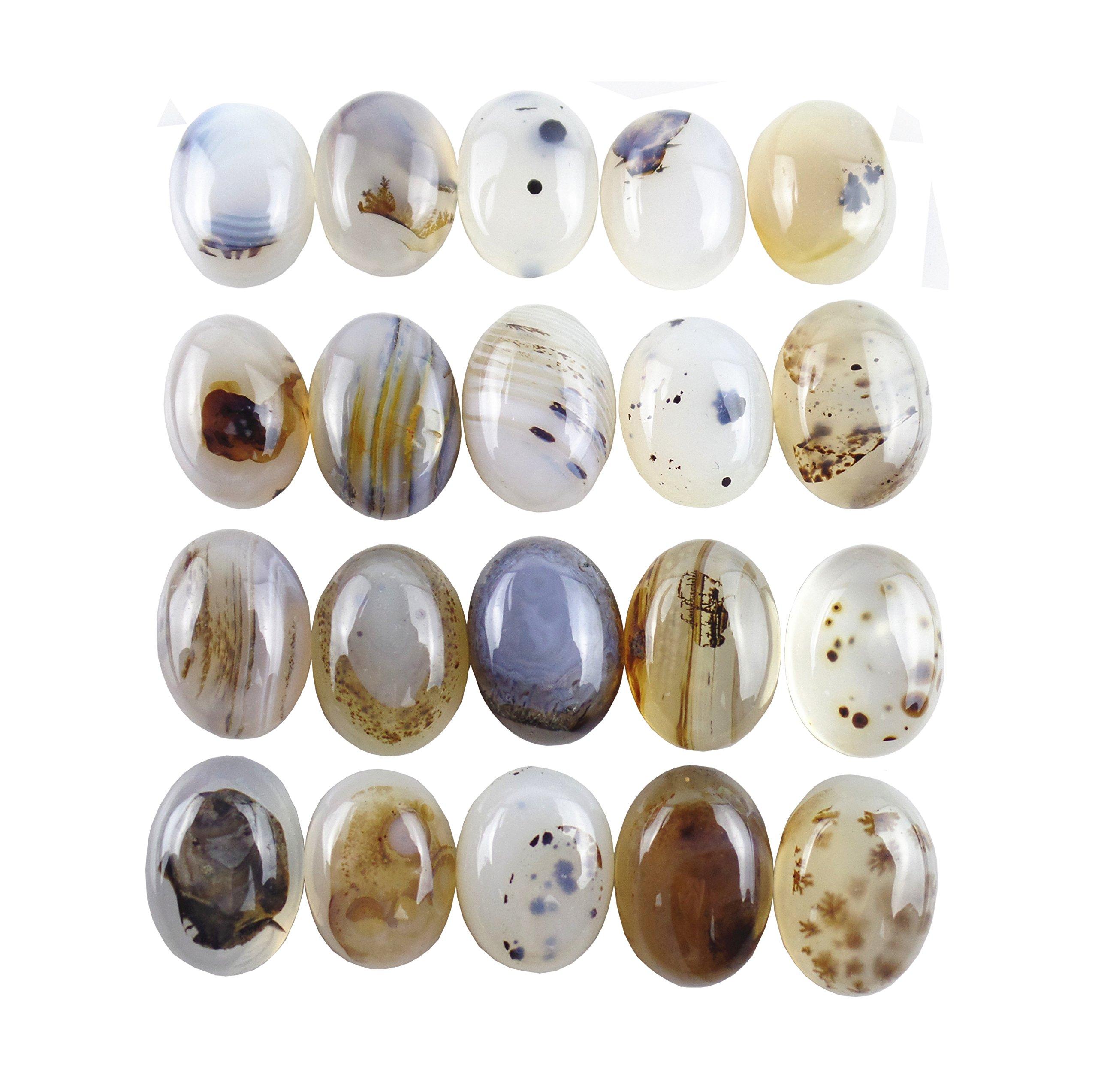 JCGJ Cabochon Oval Stone,20Pcs Unisex Semi-Precious Gemstone for Jewelry Making