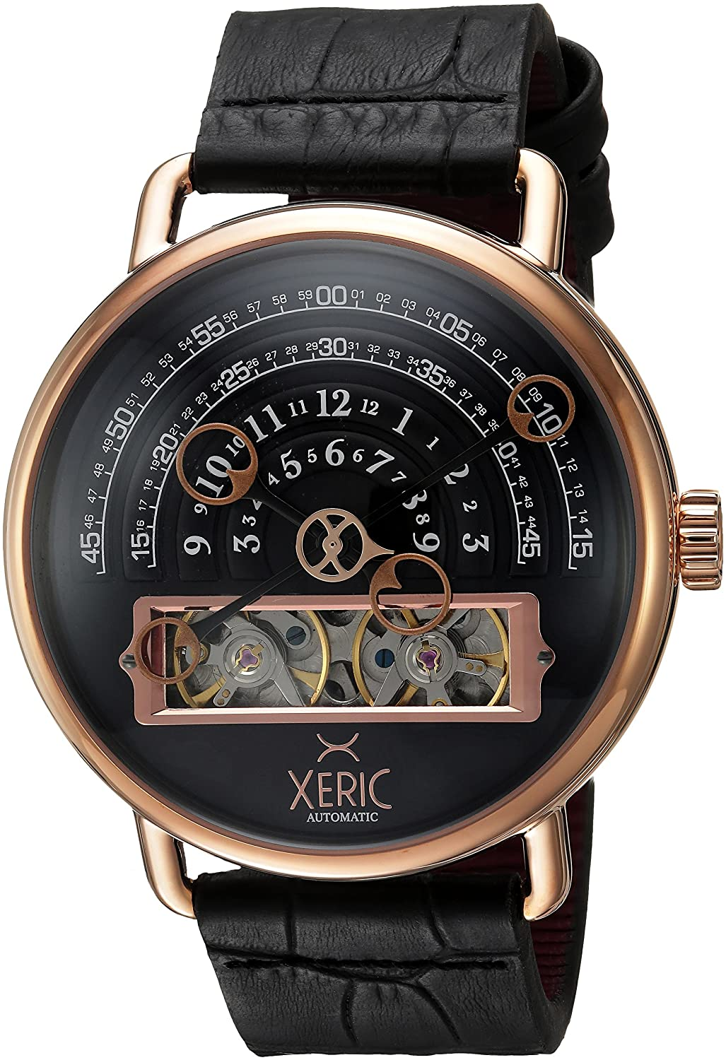 Amazon.com: Xeric Mens Automatic Stainless Steel and Leather Watch, Color Black (Model: HLG-3018): Watches