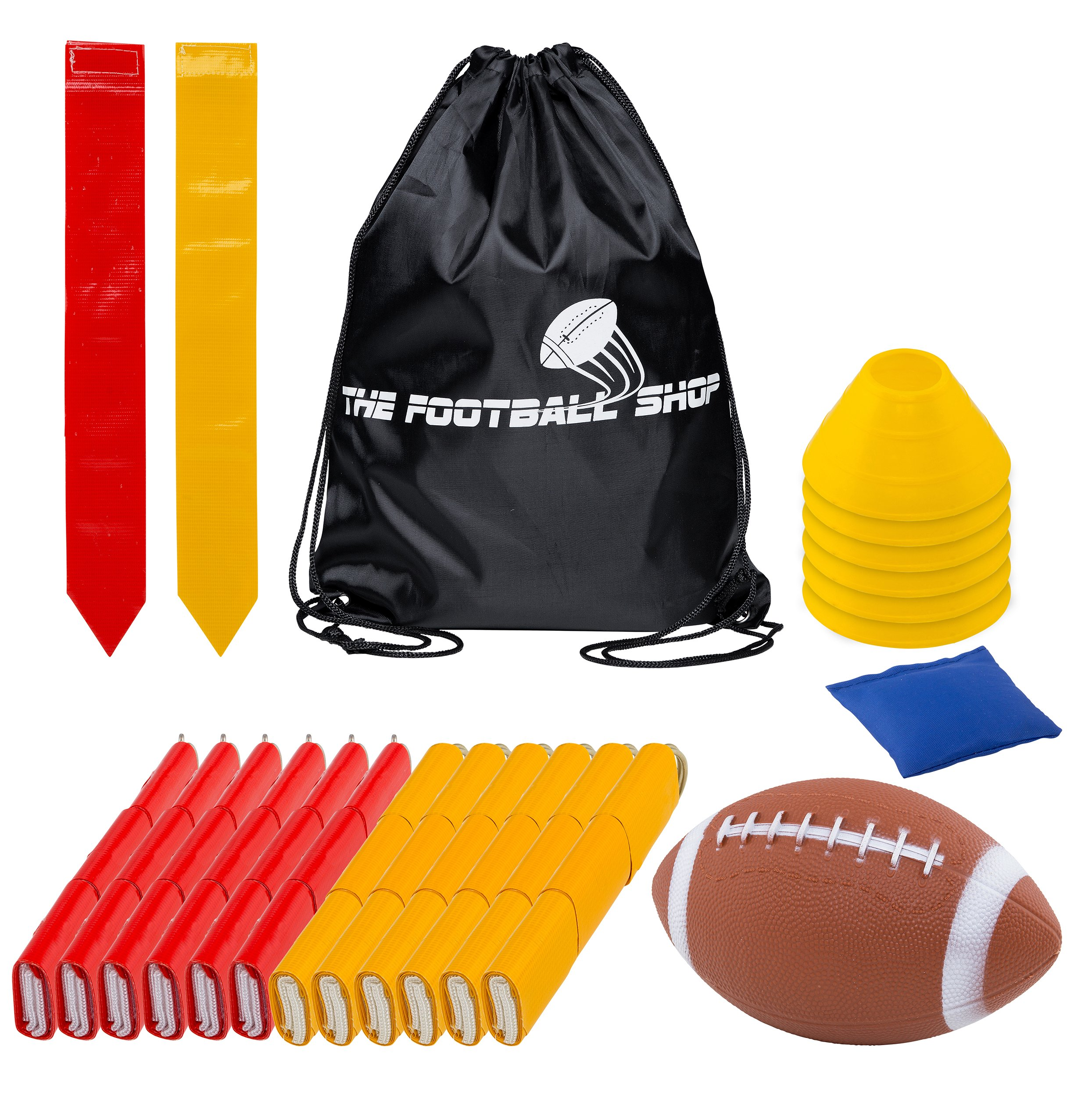 Flag Football Set for 12 Players - Includes Durable Flag Belts and Flags, Cones, Bean Bag, Carrying Backpack, and Football - Huge 55 Piece Complete Set (Red and Yellow)