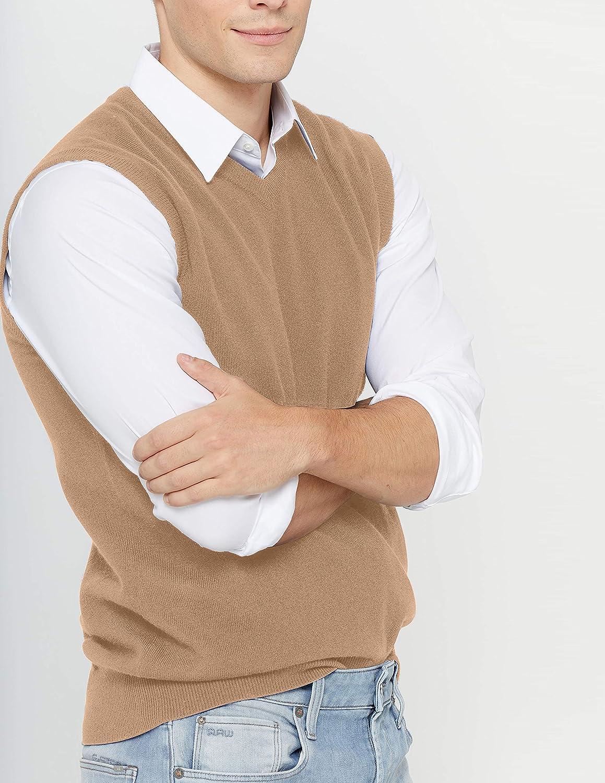 State Cashmere Herren V-Ausschnitt Strickweste Einfarbig 100% reines Kaschmir Feinstrick Ärmellose Pulli Kamel