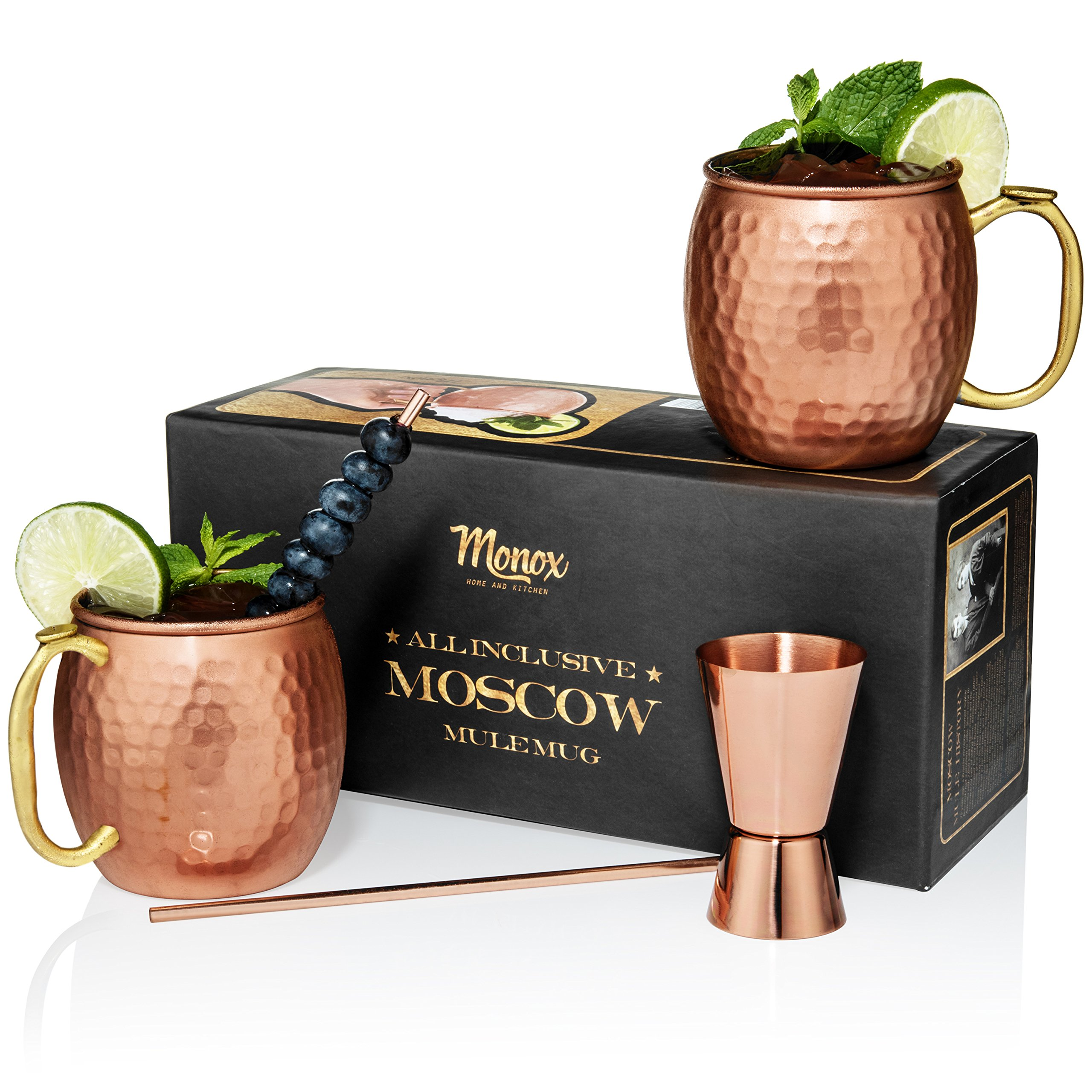 Moscow Mule Copper Mugs – Gift Set of 2-100% HANDCRAFTED – Food Safe Pure Solid Copper Tumblers - 16 oz - BONUS Highest Quality Cocktail Straws & Jigger (Shot Glass) – BRASS THUMB REST!
