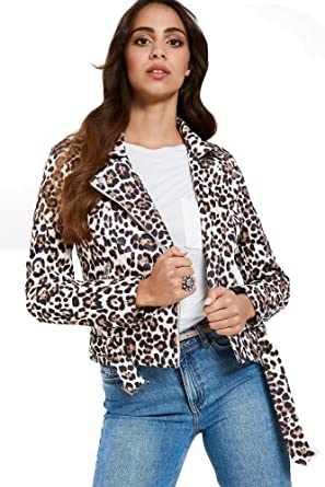 d5f1743db7c7 Brand Attic Faux Suede Leopard Print Women's Biker Jacket: Amazon.co ...