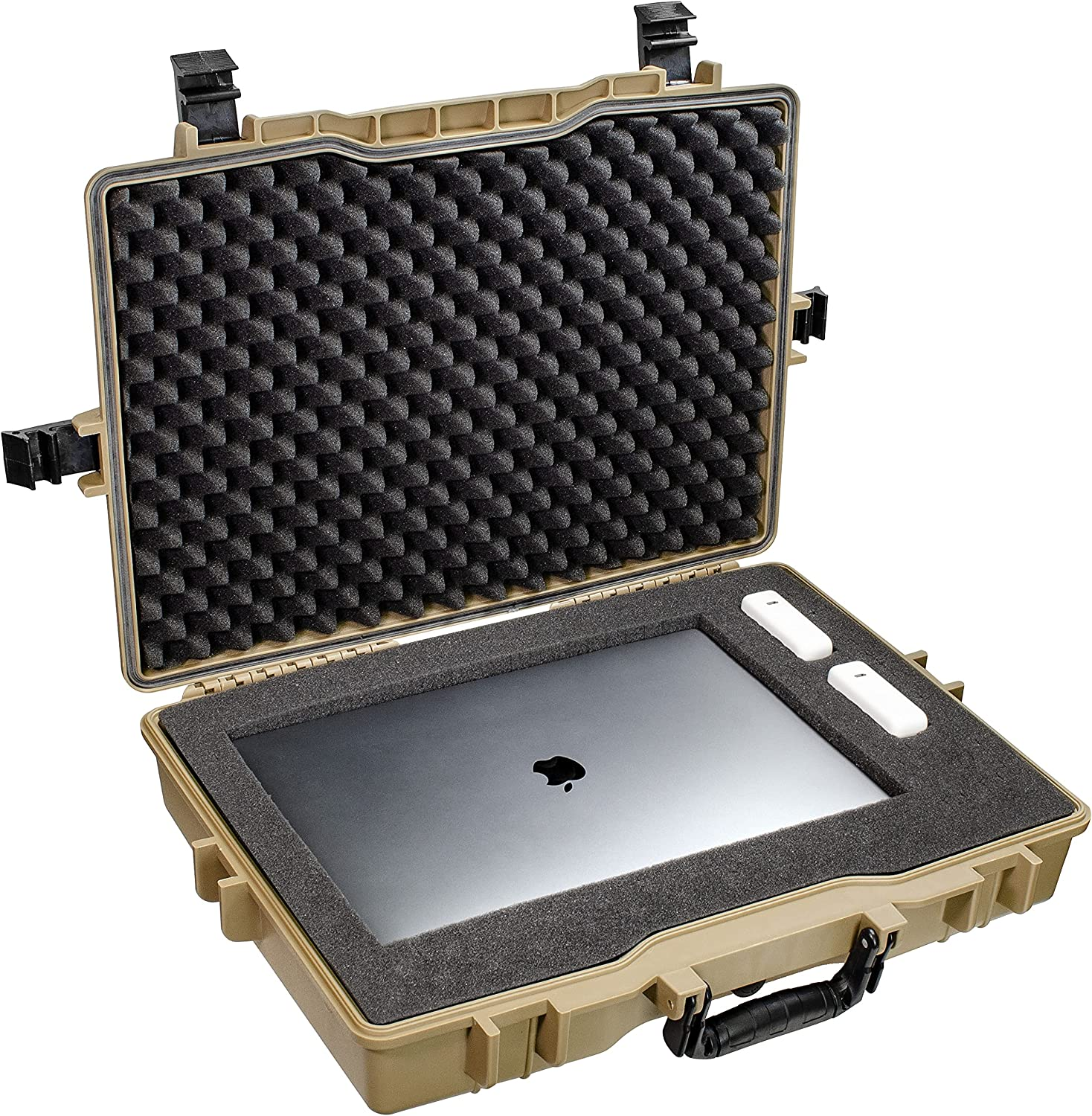 Large 22 inch Protective, Camera, Tools, Equipment Laptop Hard Case Waterproof w/ 3 Layers Foam (Tan FDE)