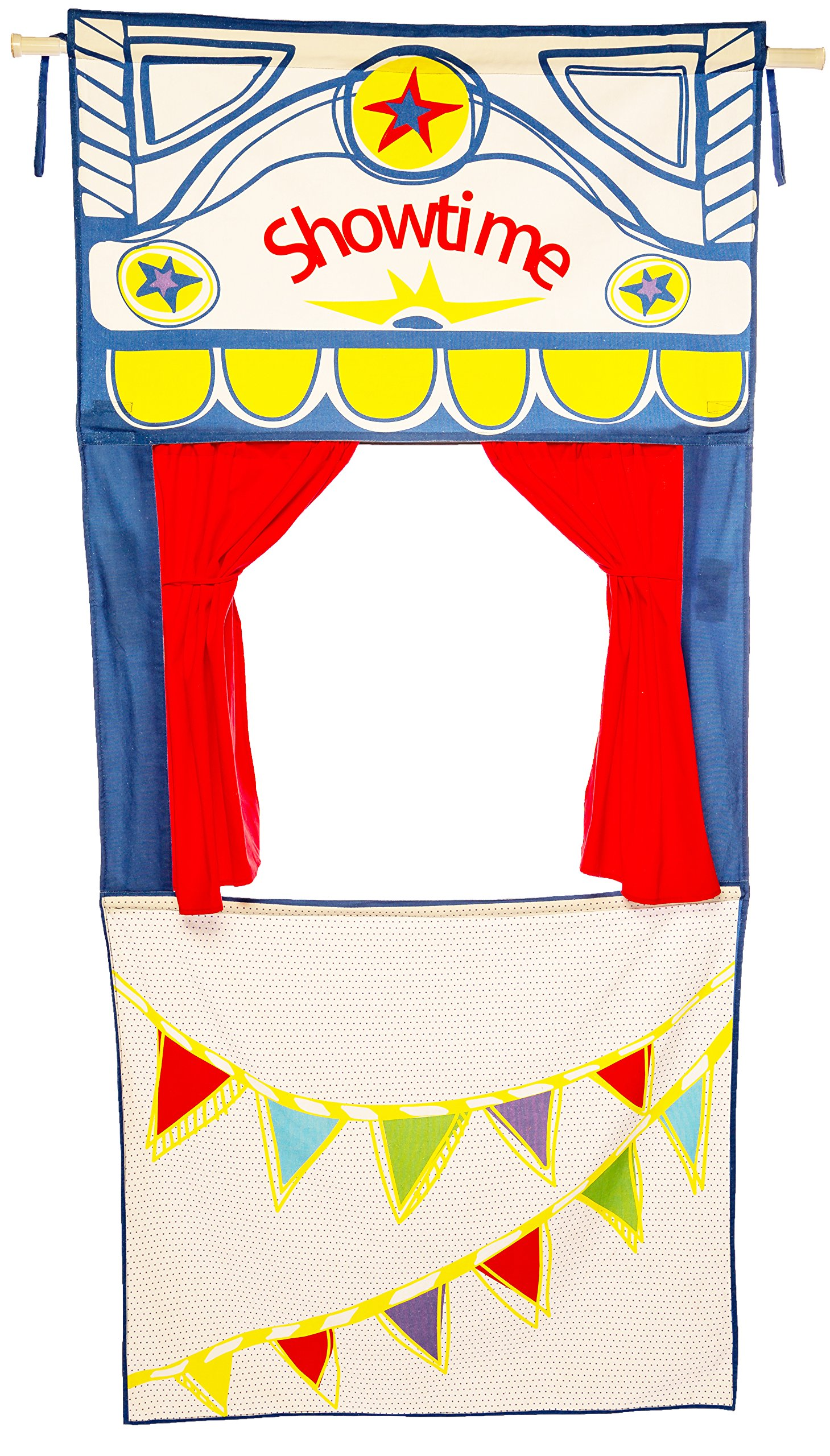 MMP Living Doorway Puppet Theater with adjustable rod, tie-back curtains - over 6 feet tall, 100% Cotton