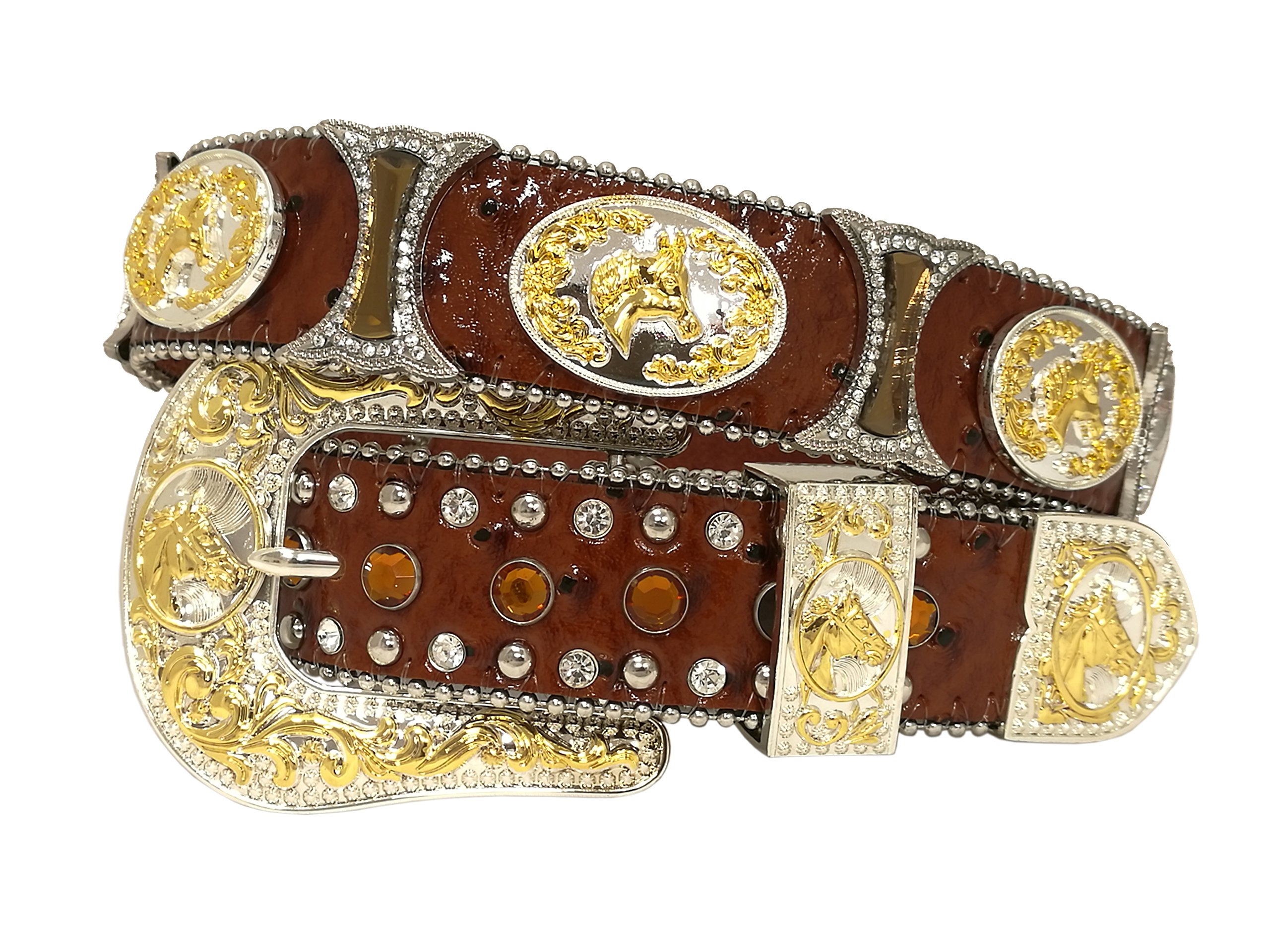 New Mens Western Cowboy Cowgirl Gold Horse Silver Hourglass Concho Shiny Leather Belt