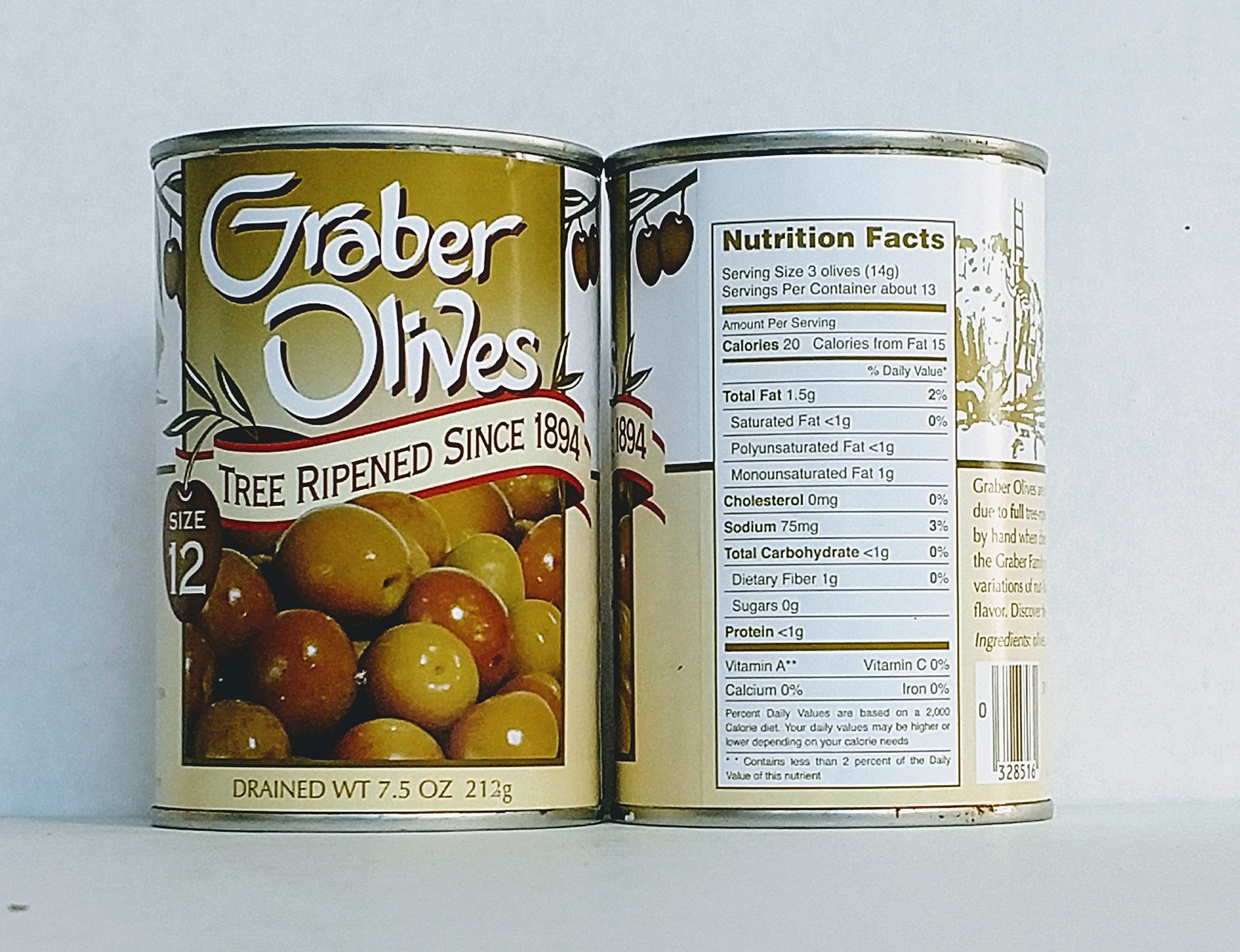 Graber, Tree Ripened Olives, 7.5oz (Pack of 2) (Size 12) - Gourmet California Olives, Hand Picked and Delivered Fresh. Graber Olive House has been cultivating Award winning olives since 1894.