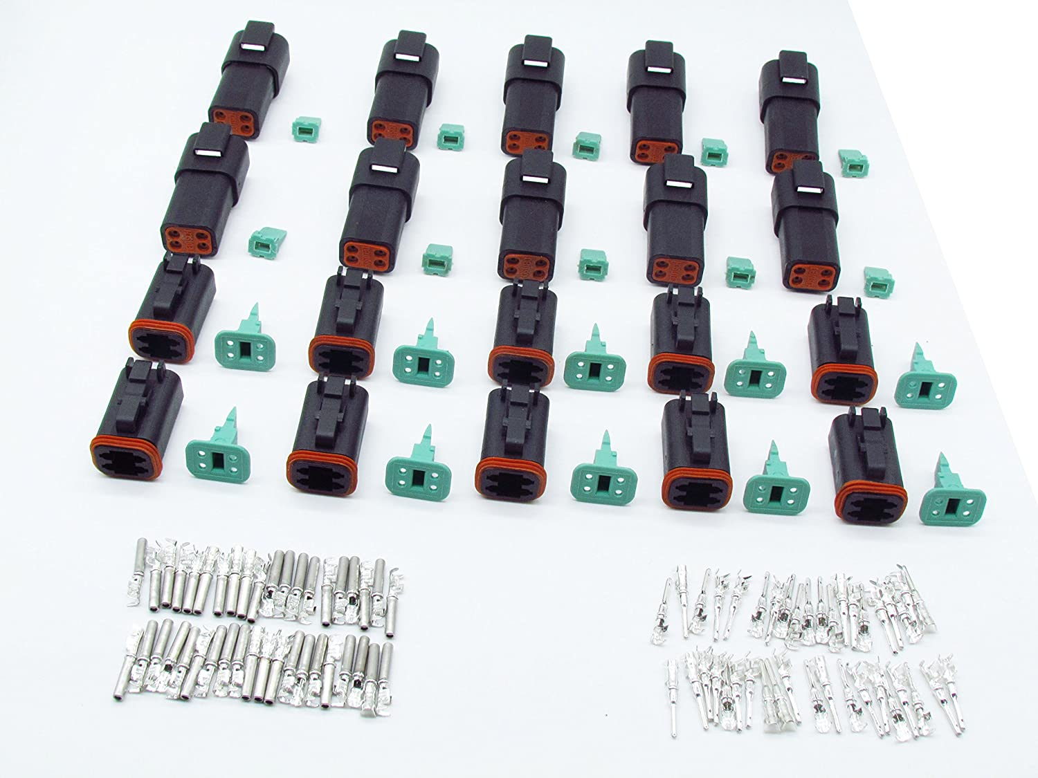 CNKF 10 Sets Deutsch DT 4 Pin black male female auto Waterproof Electrical Wire Connector Plug DT06-4S DT04-4P