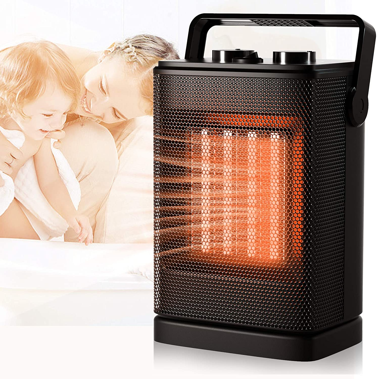 Portable Space Heater, Mini Electric Heater for Office Desk Home Bedroom Indoor Use, 1200W Ceramic Small Heater with Adjustable Thermostat, Overheat Tip-Over Protection