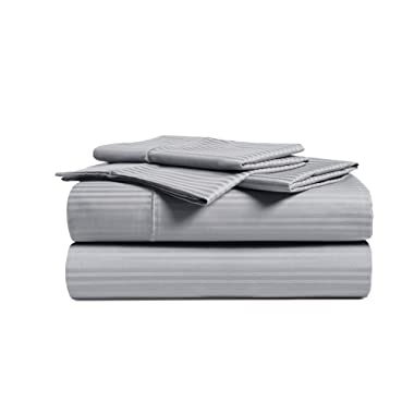 CHATEAU HOME COLLECTION 500 Thread Count Queen-Grey Sheets Luxury 100% Cotton Ultra Soft 4 Piece Sheet Set, Long-Staple Combed Pure Natural Cotton Bedsheets, Soft & Silky Sateen Weave,Deep Pocket