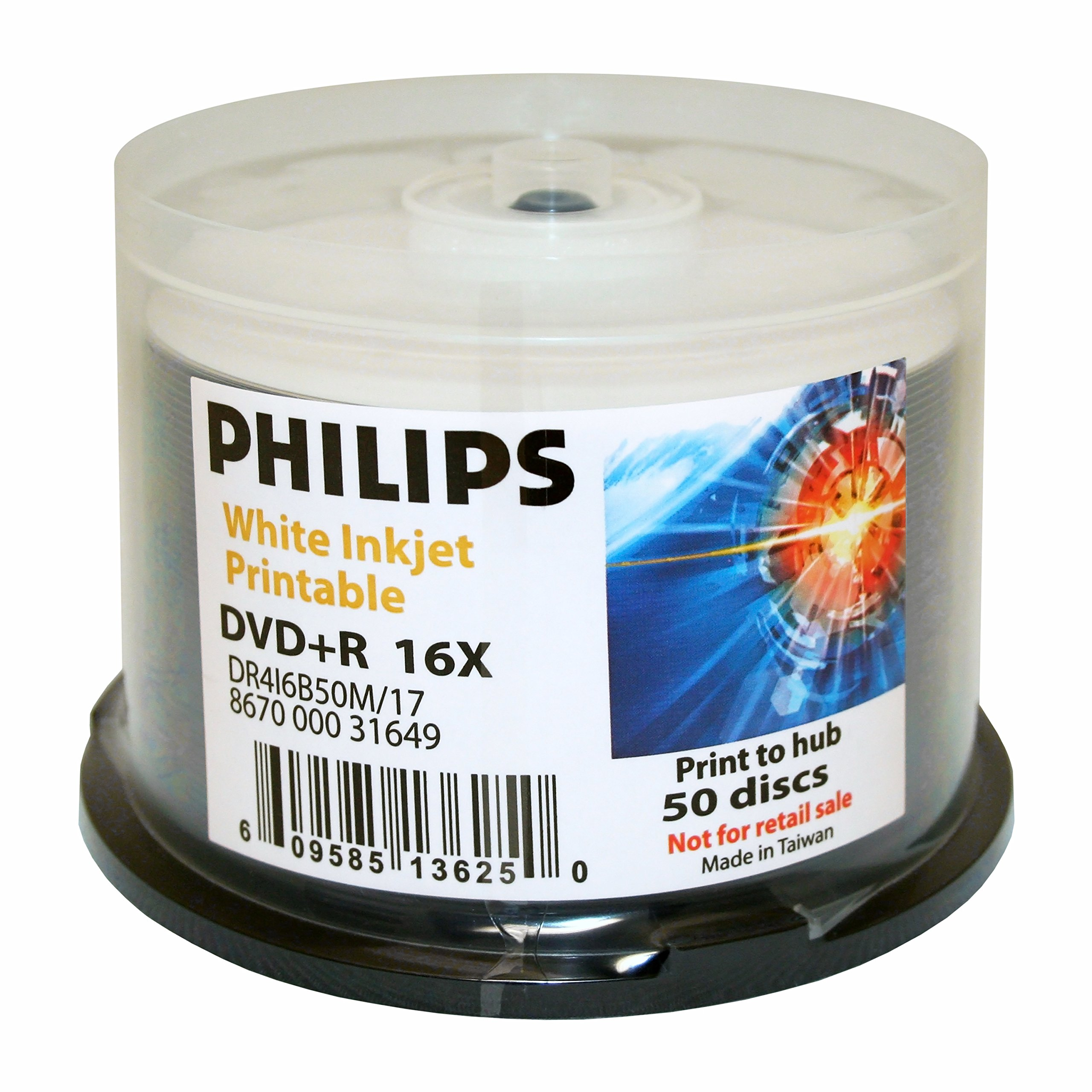 Philips DVD+R 16x Duplication Grade White Inkjet Printable to Hub 50pk Cake Box