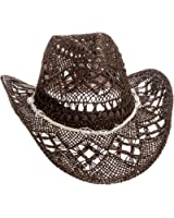 Dorfman Pacific Womens Straw Western Cowgirl Hat w/ Glass Beads