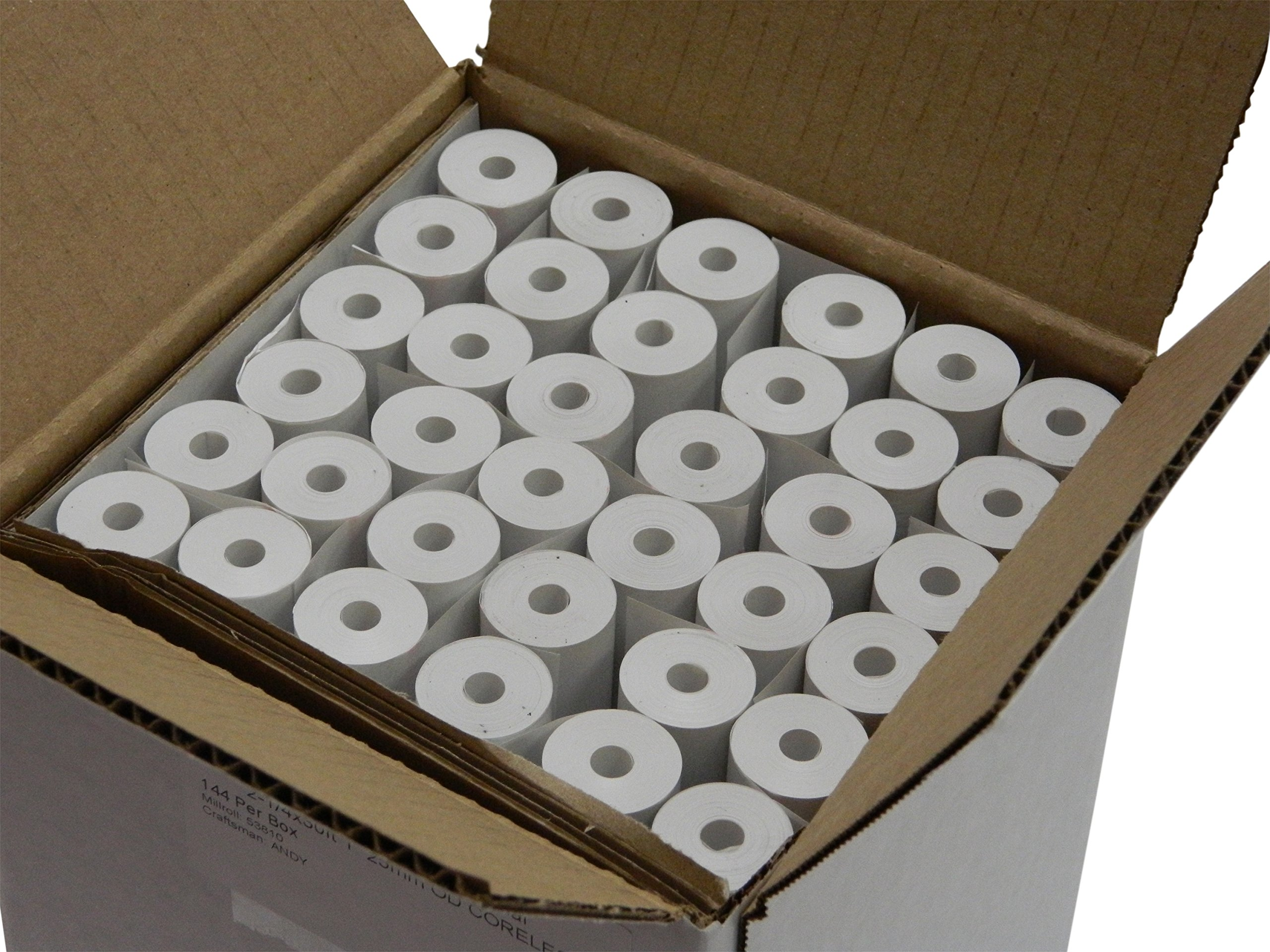 POS1 Thermal Paper 2-1/4 x 30 ft for Poynt Smart Terminal Receipt Printer 1''/ 25mm diameter CORELESS BPA Free 144 rolls