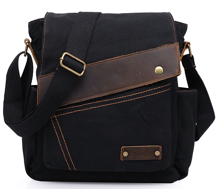 Magictodoor Canvas Bag Messenger Bag w/Two Side Pockets 9087 Black