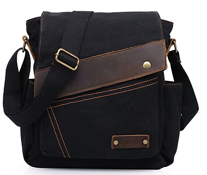 a190541d08 Amazon – Small Canvas School/Work Messenger Bag w/ Side Pockets in Black  just $5.60 after Code (reg $27.99)!