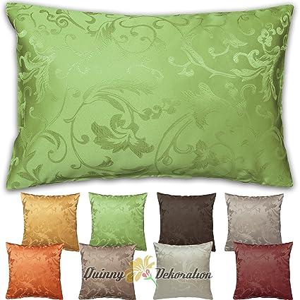 Quinnyshop Funda de cojín Jacquard 40 x 40, 50 x 50, 40 x 60 cm con selección de Color, poliéster, Verde, 40 cm x 40 cm