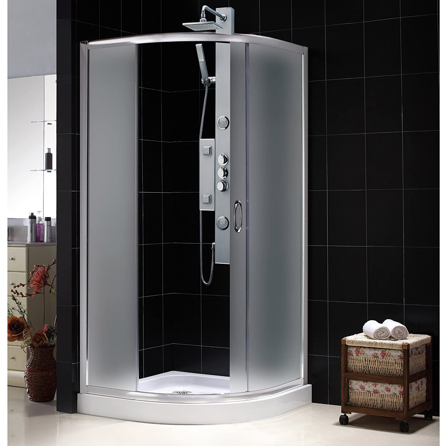 DreamLine Solo Frameless Sliding Shower Enclosure and SlimLine 33 ...