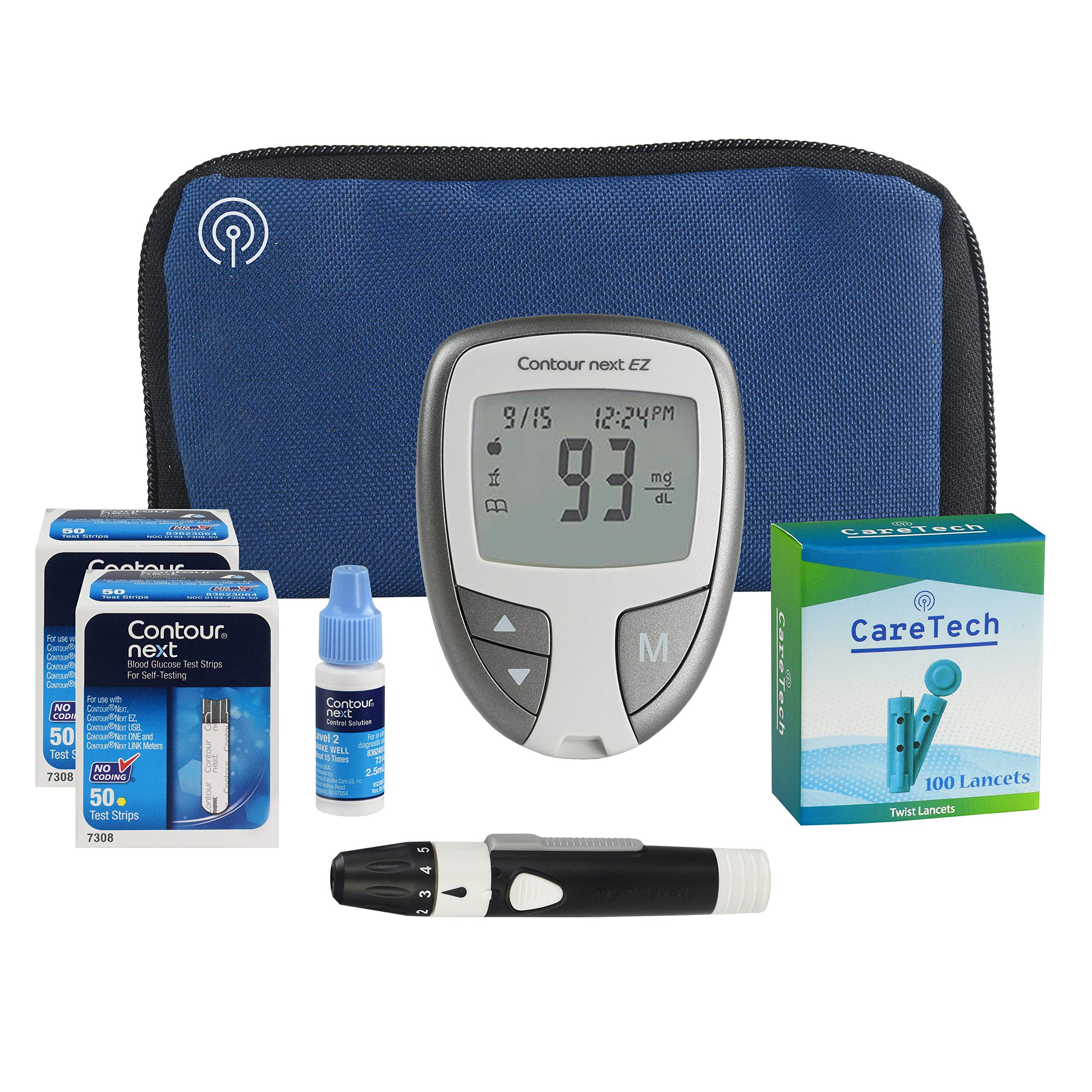 All-Inclusive Blood Glucose Monitoring Starter Kit | Diabetes Testing Pack with Glucose Meter, Test Strips, Control Solution, Lancets, Lancing Device, Carrying Case | Premium Blood Sugar Testing by Care Tech