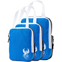 Blue Luggage Travel Organizers with Compression Zipper for More Storage - 3 Piece Set