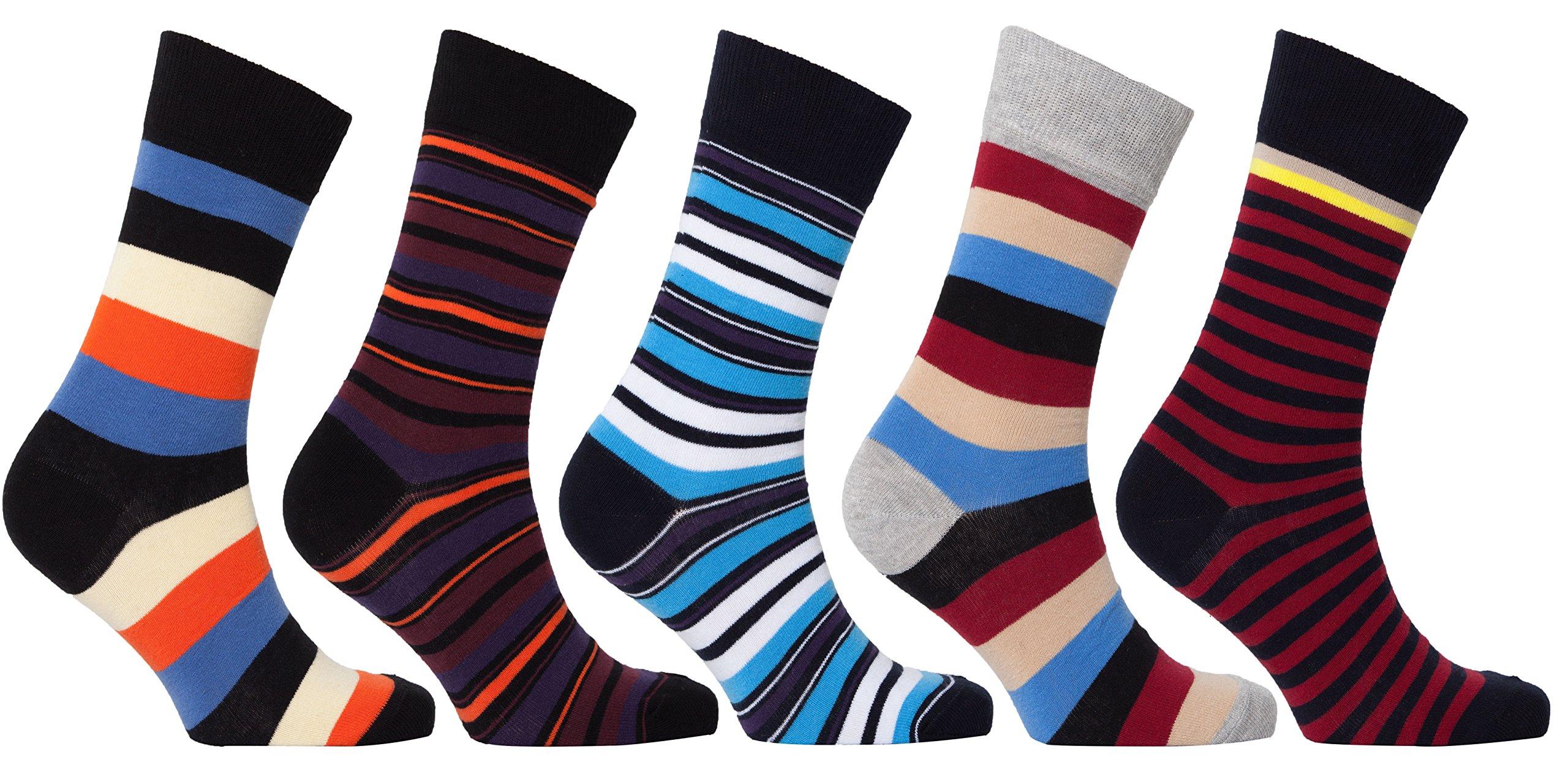 Socks n Socks - Men's 5-pair Striped Luxury Turkish Cotton Dress Socks with Gift Box