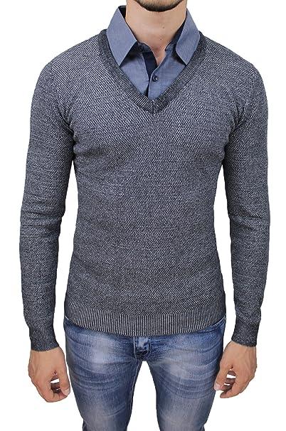 outlet fda60 34934 Maglione uomo con camicia abbinata nero grigio slim fit ...
