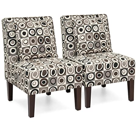 Best Choice Products Set of 2 Living Room Armless Accent Chairs w Pillows – Geometric Circle Design