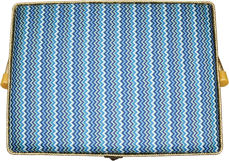 Sullivans Folding Sewing Basket 9 x 12 x 6.5 Chevron Blue