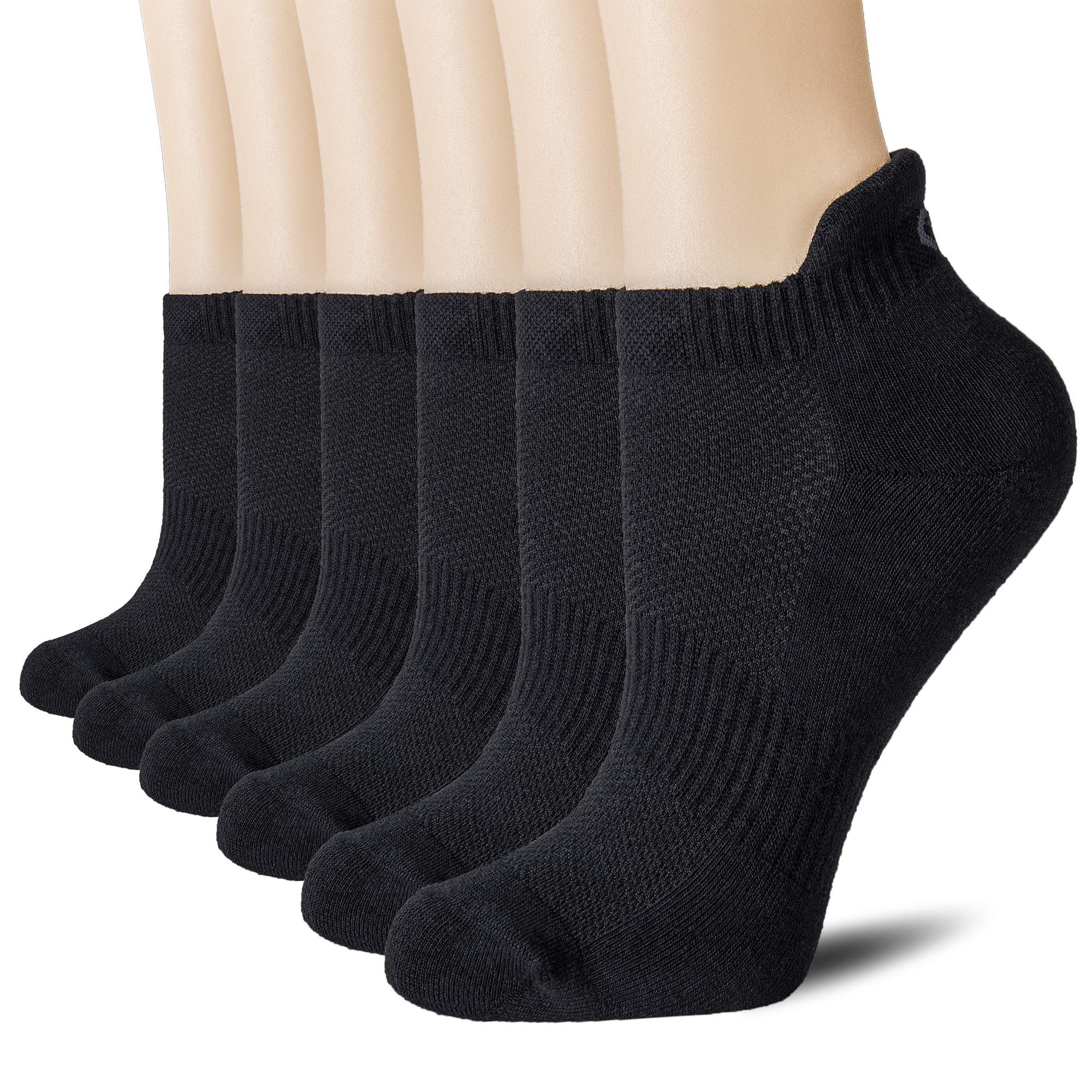 CelerSport Cushion No Show Tab Athletic Running Socks for Men and Women (6 Pairs),Small, Black