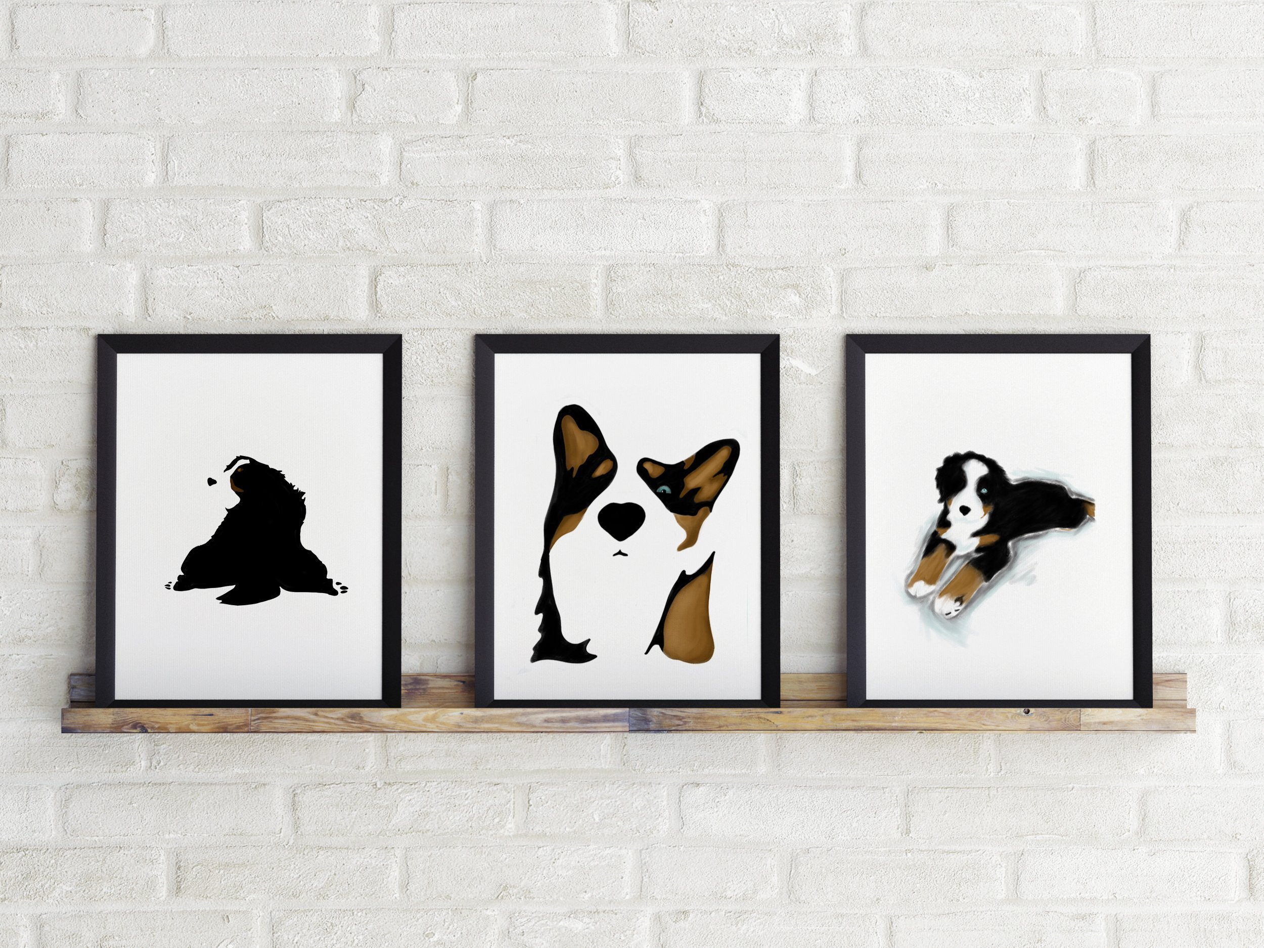Three Piece Cardstock Prints 8.5 x11 ''Bernese mountain dog'' by June & Lucy