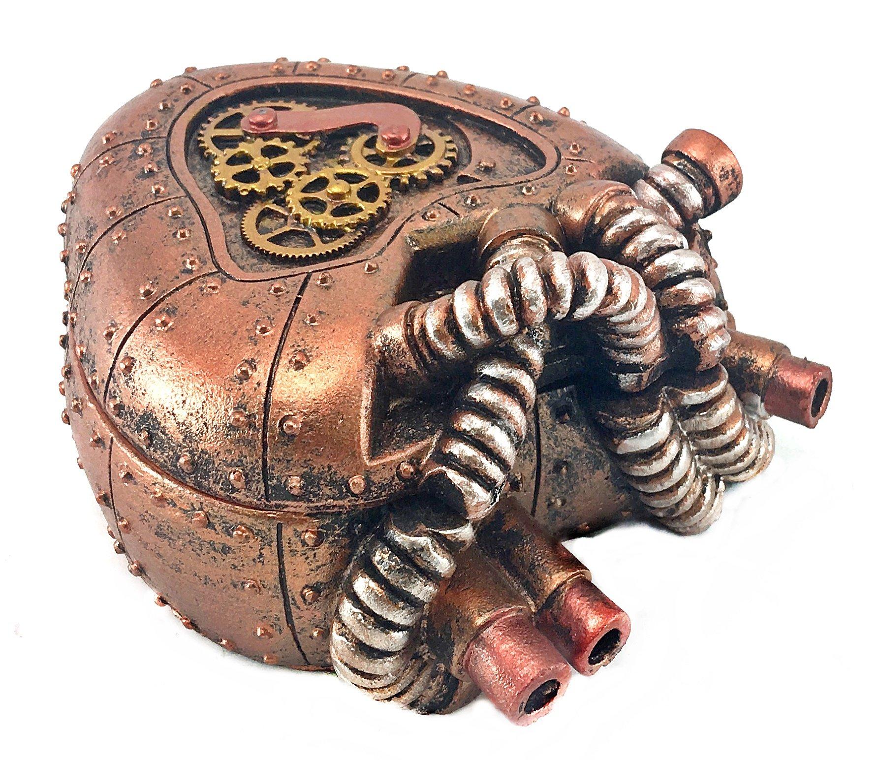 Bellaa 20980 Steampunk Heart Box Mechanical Industrial 4 inch 3