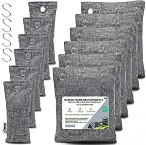 Bamboo Charcoal Air Purifying Bags (12 Pack), Activated Charcoal Bag Odor Absorbers for Home and Car, Shoe Deodorizer, Closet (Pet Friendly) - Charcoal Air Purifying Bags (6x150g, 6x50g)