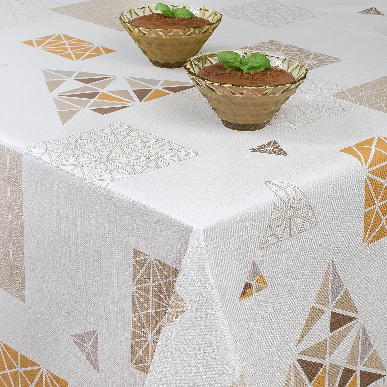 ANRO Tovaglia cerata tovaglia cerata tovaglia lavabile Nordic moderno geometrico, asciugamani, Beige marrone chiaro, Rund 100cm