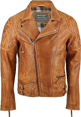 Xposed Chaqueta de piel auténtica para hombre, estilo vintage, estilo vintage, lavada, marrón, con cremallera, estilo retro, elegante y casual