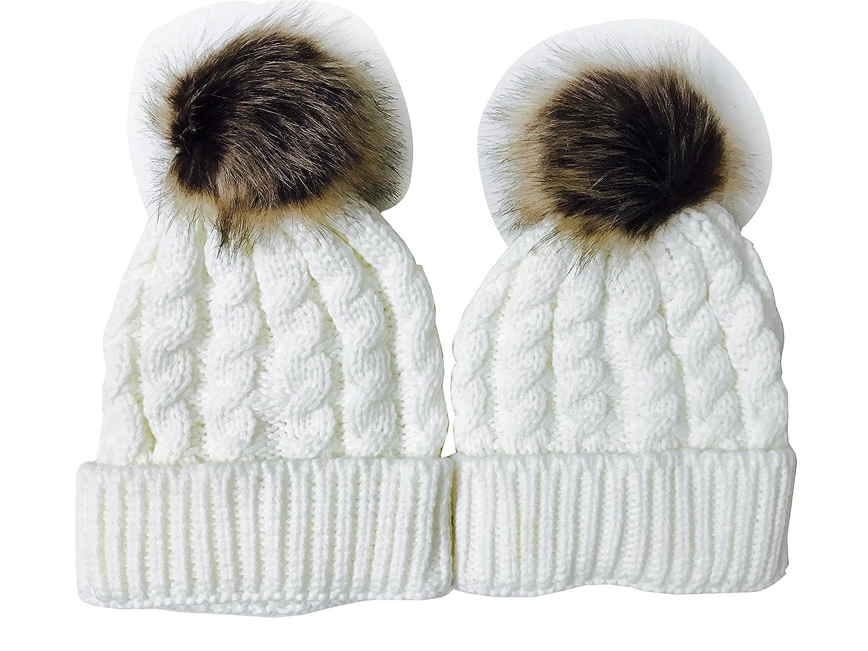 Qin.Orianna Winter Mommy and Me Warm Crochet Knit Beanie Hat with Faux Fur Pom Pom Beige) SSZJAVA-057