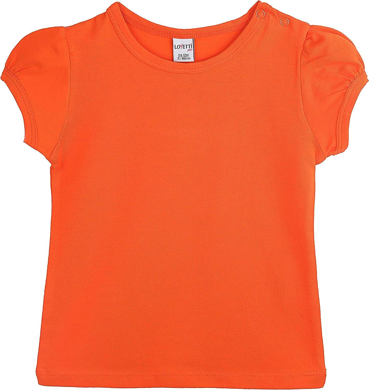 Lovetti Baby Girls Basic Short Puff Sleeve Round Neck T-Shirt