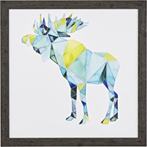 "Amazon Brand – Rivet Modern Blue and Yellow Geometric Moose Print Framed Wall Art Decor - 18"" x 18"" Frame, Black"