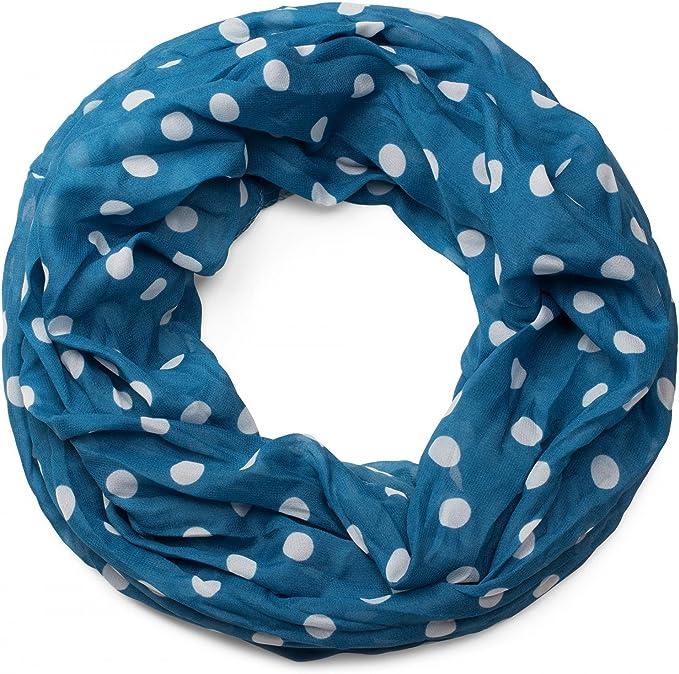 Faera Damen Schal luftig und weich mit erfrischendem Punkt-Muster Loopschal Rundschal in verschiedenen Farben