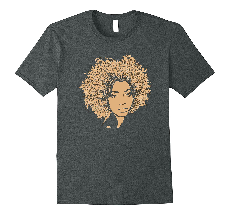 Afro Word Art Natural Hair T-Shirt for Black Women
