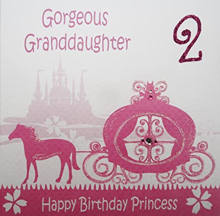 WHITE COTTON CARDS Gorgeous Granddaughter 2 Happy Handmade 2nd Birthday Card Princess Carriage Amazoncouk Kitchen Home