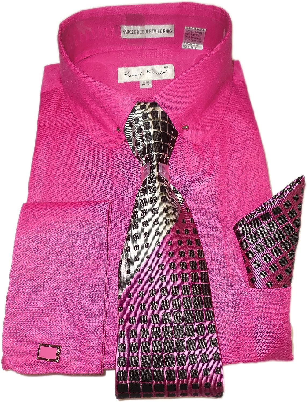 Men/'s Button Down Collar Shirt Smart Cotton Pink Fuchsia Cyan Check Slim Fit