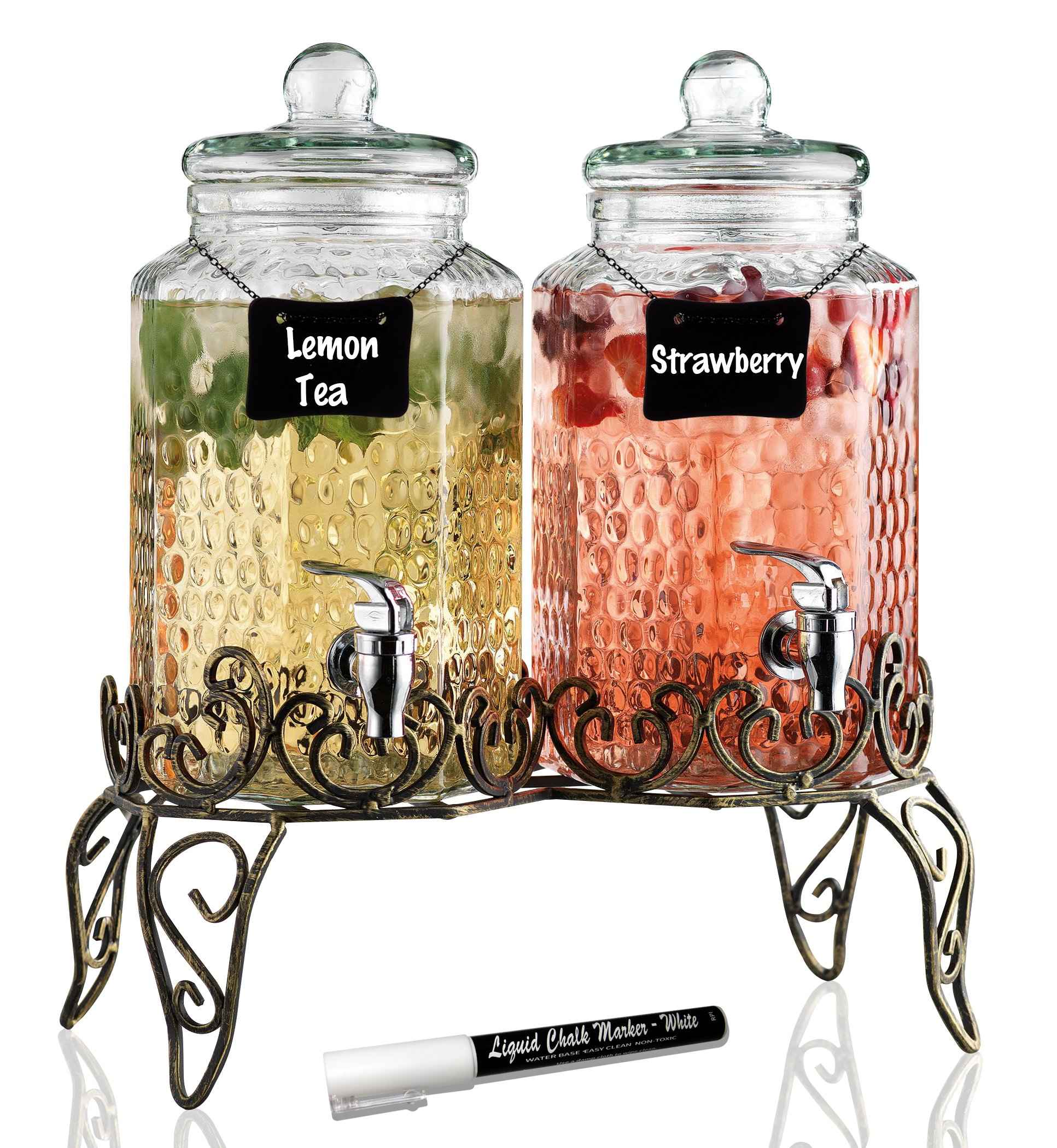Elegant Hammered Glass Double Beverage Drink Dispenser on Antique Scroll Metal Stand - 1 Gallon Each Jug - 2 Erasable Mini Chalkboard Signs, White Liquid Chalk Marker - Home Bar & Party Centerpiece